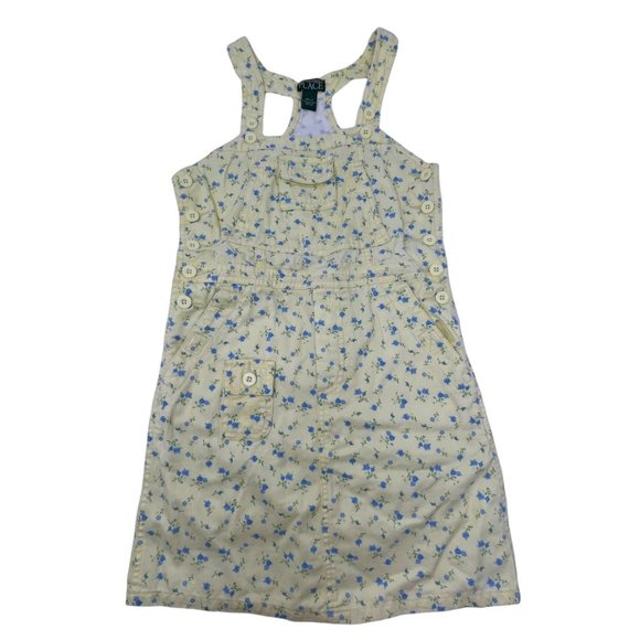 The Children's Place Yellow Floral Print Jumper Dress Yellow Girls 6X/7 Cotton